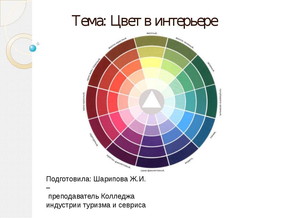Тема: Цвет в интерьере Подготовила: Шарипова Ж.И. – преподаватель Колледжа ин...