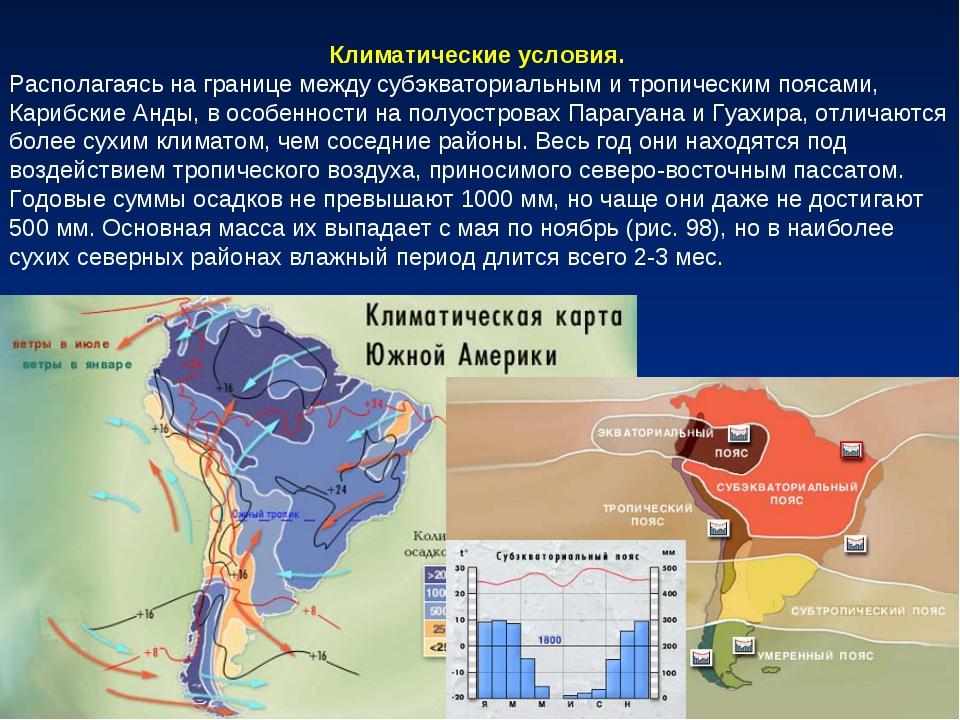 Климатические условия. Располагаясь на границе между субэкваториальным и троп...