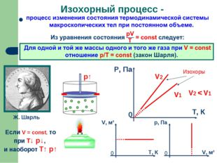 Изохорный процесс - Ж. Шарль Если V = const, то при Т↓ p↓, и наоборот T↑ p↑ И