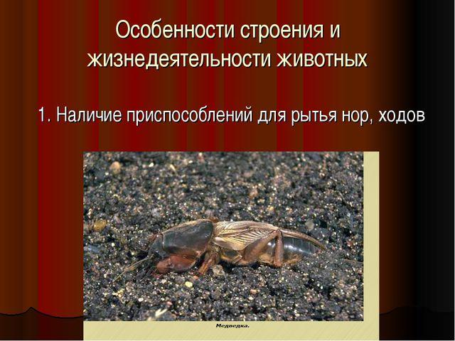 Особенности строения и жизнедеятельности животных 1. Наличие приспособлений д...