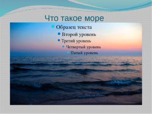 Что такое море