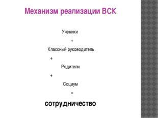 Механизм реализации ВСК Ученики + Классный руководитель + Родители + Социум =