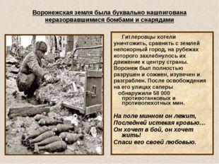 Воронежская земля была буквально нашпигована неразорвавшимися бомбами и снаря