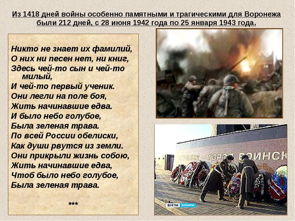 Из 1418 дней войны особенно памятными и трагическими для Воронежа были 212 дн...