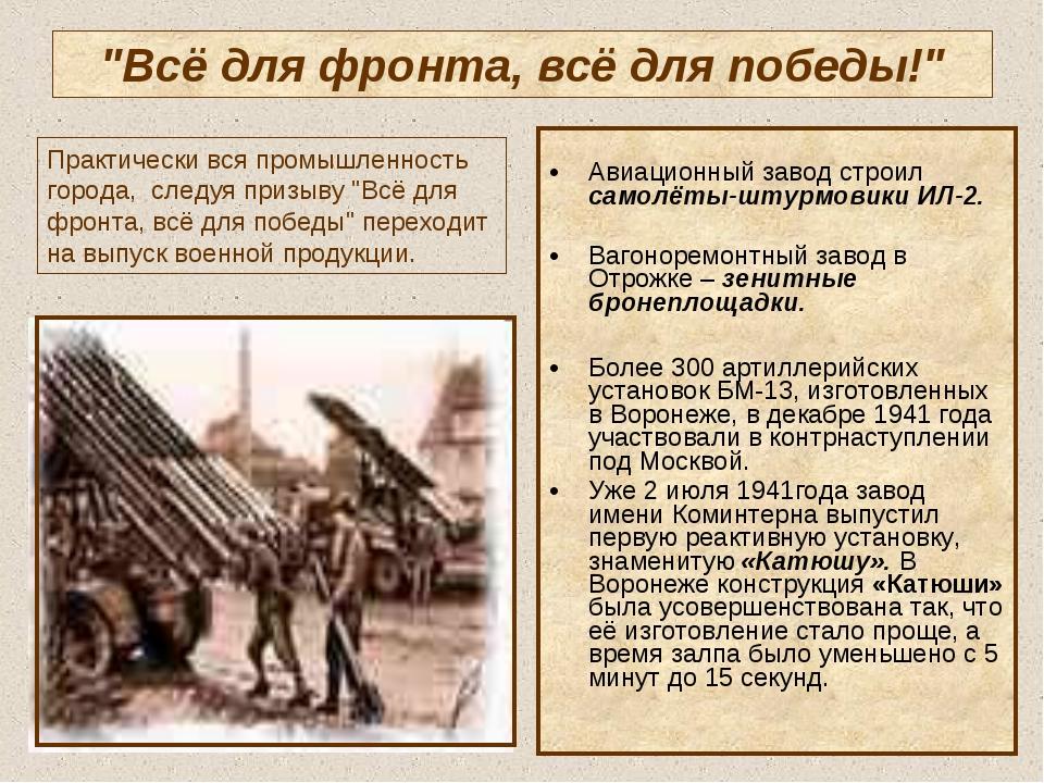 """""""Всё для фронта, всё для победы!"""" Авиационный завод строил самолёты-штурмовик..."""