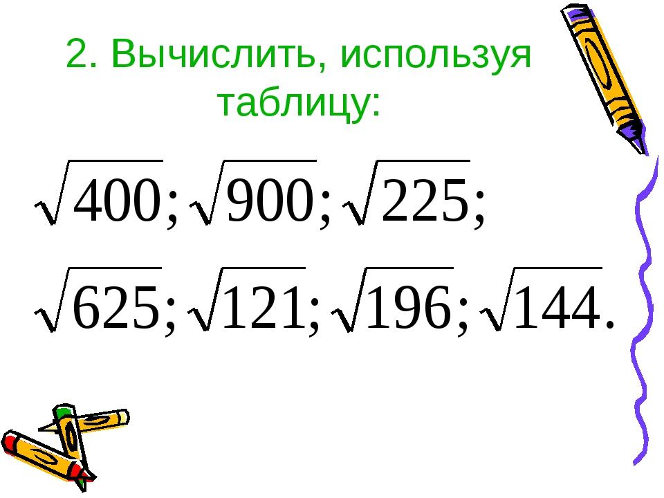 2. Вычислить, используя таблицу: