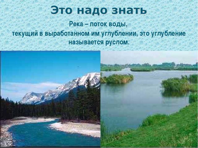 Река – поток воды, текущий в выработанном им углублении, это углубление назыв...