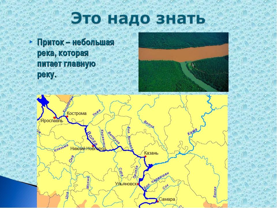 Приток – небольшая река, которая питает главную реку.