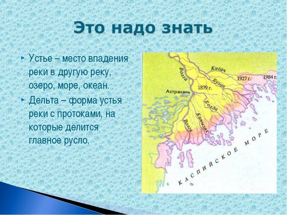 Устье – место впадения реки в другую реку, озеро, море, океан. Дельта – форма...