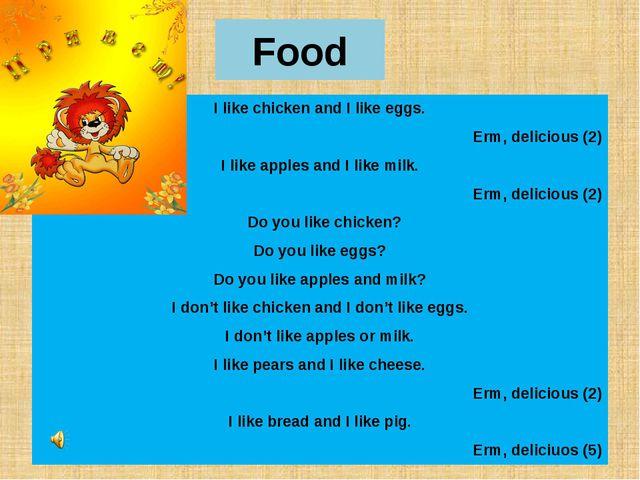 Food I like chicken and I like eggs. Erm, delicious (2) I like apples and I l...