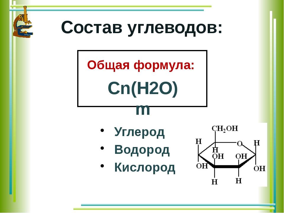Состав углеводов: Углерод Водород Кислород Общая формула:
