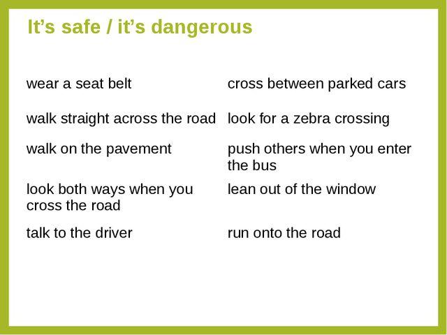 It's safe / it's dangerous wear a seat beltcross between parked cars walk st...