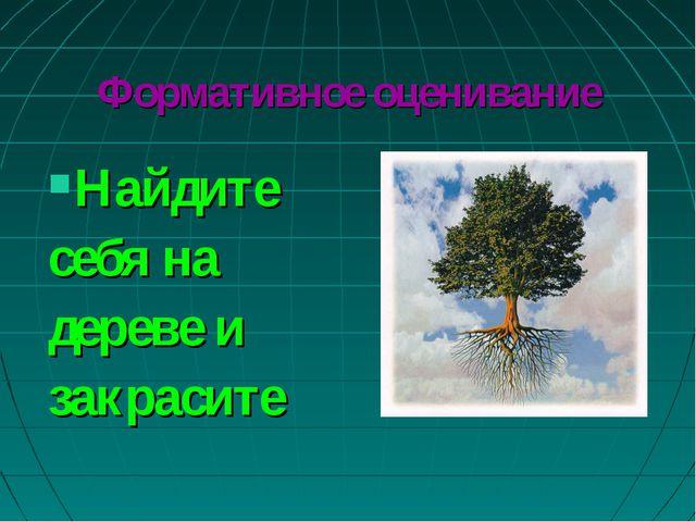 Формативное оценивание Найдите себя на дереве и закрасите