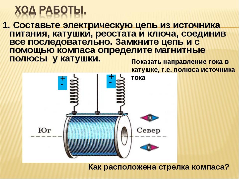 1. Составьте электрическую цепь из источника питания, катушки, реостата и клю...