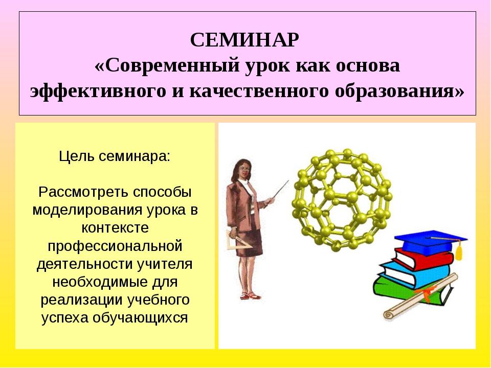 СЕМИНАР «Современный урок как основа эффективного и качественного образования...