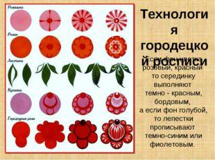 Технология городецкой росписи Если фон цветка розовый, красный то серединку в