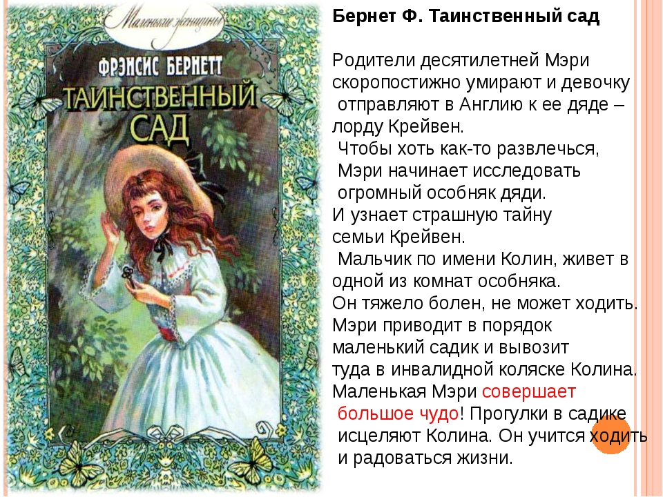 Бернет Ф. Таинственный сад Родители десятилетней Мэри скоропостижно умирают и...