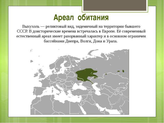 Ареал обитания Выхухоль— реликтовый вид, эндемичный на территории бывшего СС...