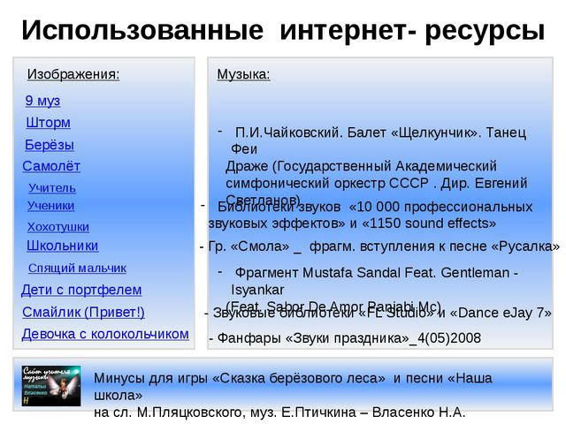 Использованные интернет- ресурсы Изображения: Девочка с колокольчиком Дети с...