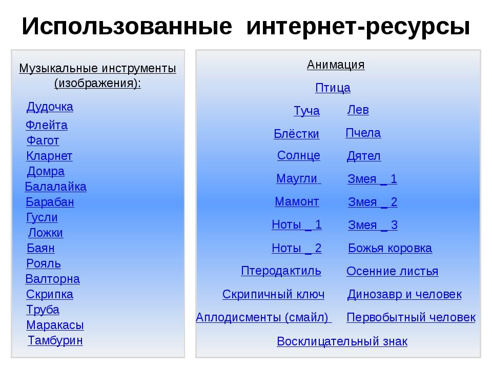 Использованные интернет-ресурсы Музыкальные инструменты (изображения): Флейт...