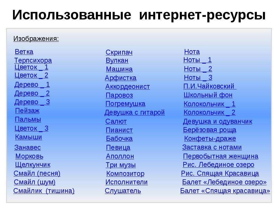 Использованные интернет-ресурсы Изображения: Дерево _ 1 Дерево _ 2 Дерево _...