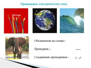 Металлы Проводники электрического тока. Земля Вода Люди и животные Обозначени