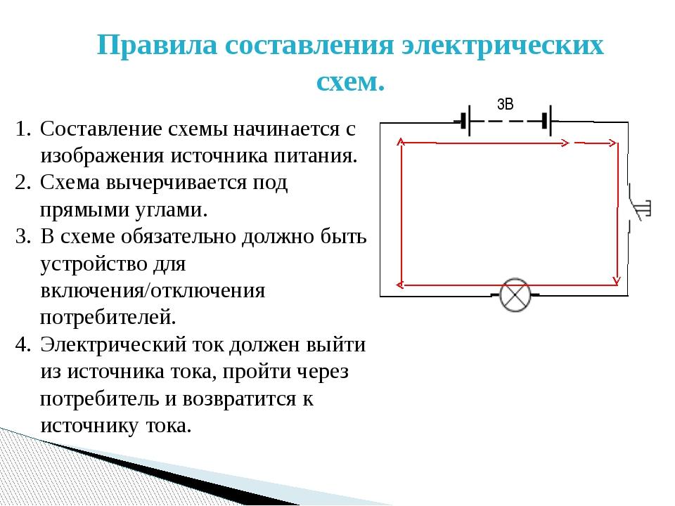 Правила составления электрических схем. Составление схемы начинается с изобра...