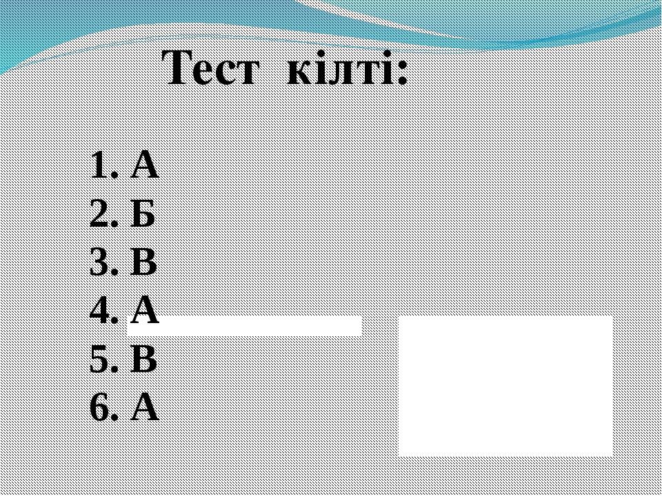 Тест кілті: 1. А 2. Б 3. В 4. А 5. В 6. А