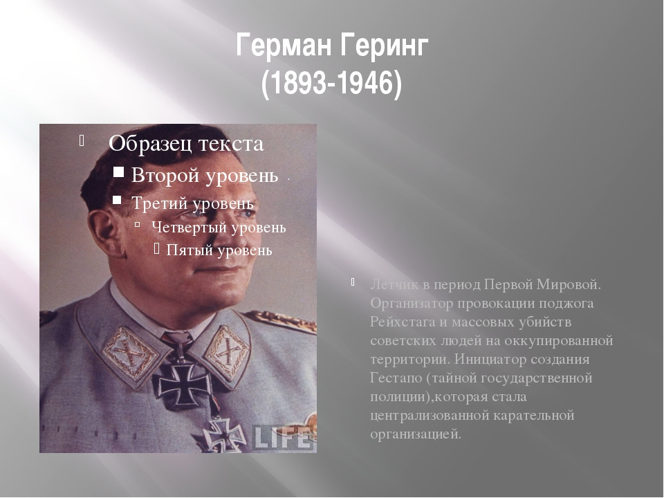 Герман Геринг (1893-1946) Летчик в период Первой Мировой. Организатор провока...