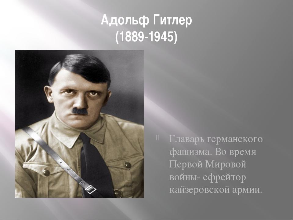 Адольф Гитлер (1889-1945) Главарь германского фашизма. Во время Первой Мирово...