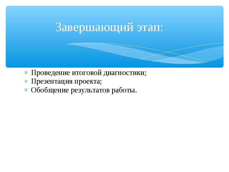 Проведение итоговой диагностики; Презентация проекта; Обобщение результатов р...