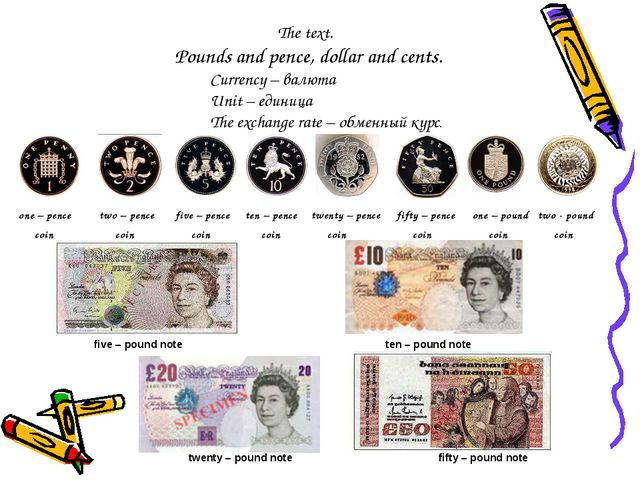 The text. Pounds and pence, dollar and cents. Currency – валюта Unit – еди...