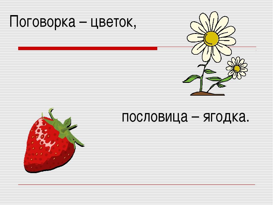Поговорка – цветок, пословица – ягодка.