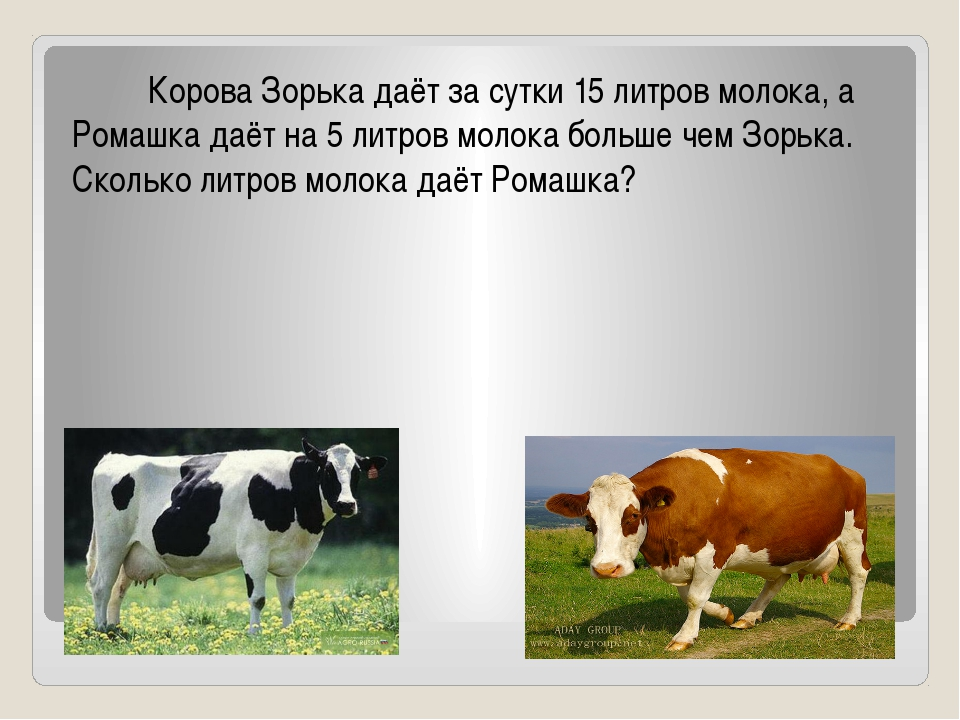Реши задачу Корова Зорька даёт за сутки 15 литров молока, а Ромашка даёт на 5...