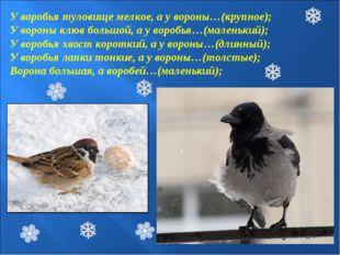 У воробья туловище мелкое, а у вороны…(крупное); У вороны клюв большой, а у в