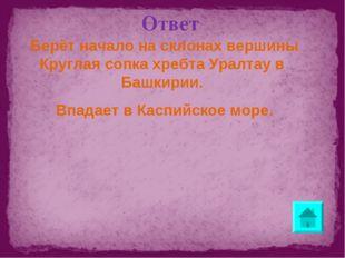 Ответ Берёт начало на склонах вершины Круглая сопка хребта Уралтау в Башкирии