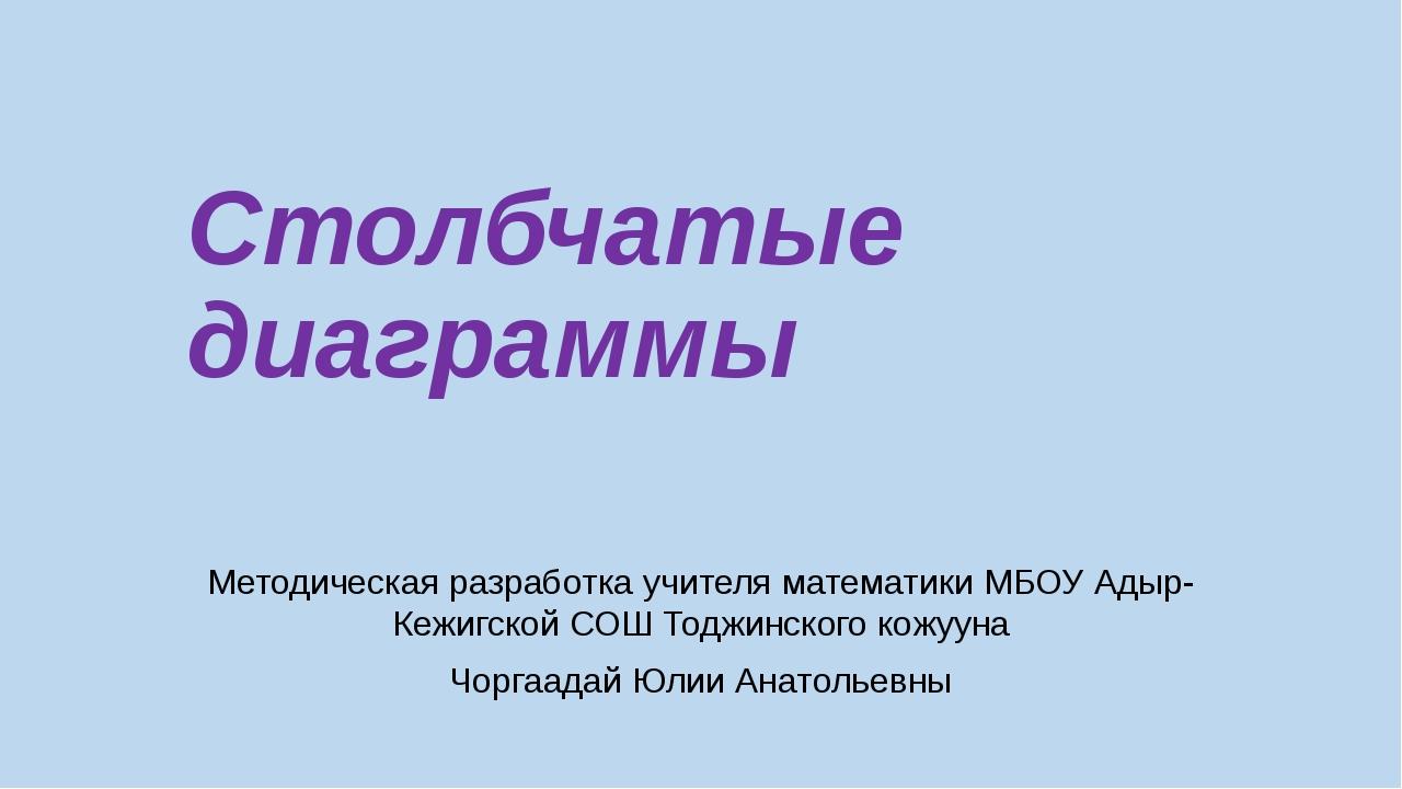 Столбчатые диаграммы Методическая разработка учителя математики МБОУ Адыр-Кеж...