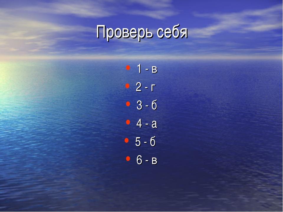 Проверь себя 1 - в 2 - г 3 - б 4 - а 5 - б 6 - в