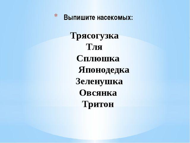 Выпишите насекомых:  Трясогузка  Тля Сплюшка   Японодедка...