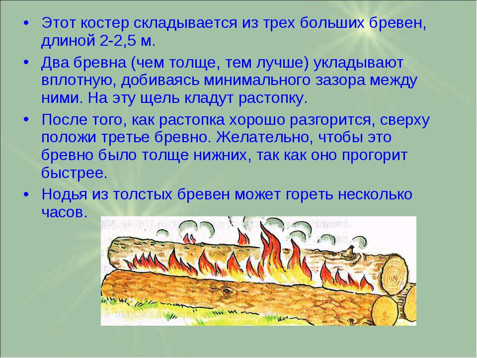 Этот костер складывается из трех больших бревен, длиной 2-2,5 м. Два бревна (...