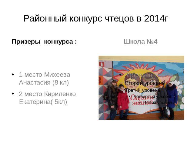 Районный конкурс чтецов в 2014г Призеры конкурса : 1 место Михеева Анастасия...