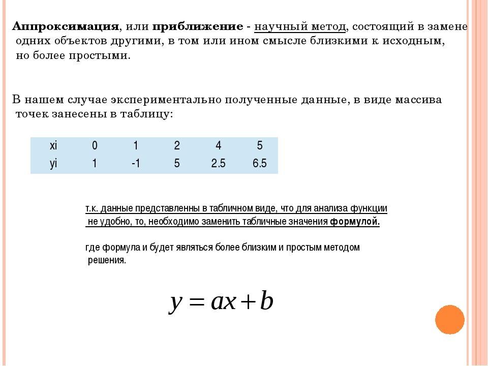 Аппроксимация, или приближение- научный метод, состоящий в замене одних объе...