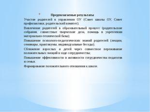 Предполагаемые результаты Участие родителей в управлении ОУ (Совет школы ОУ,