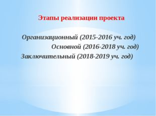 Этапы реализации проекта Организационный (2015-2016 уч. год) Основной (2016-