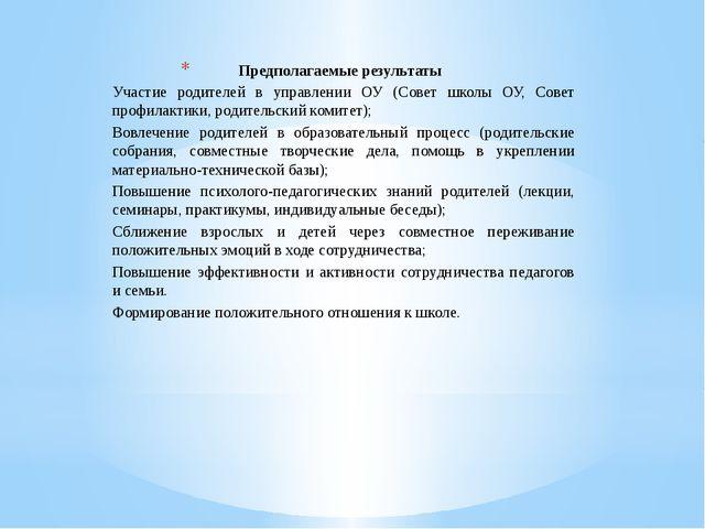 Предполагаемые результаты Участие родителей в управлении ОУ (Совет школы ОУ,...
