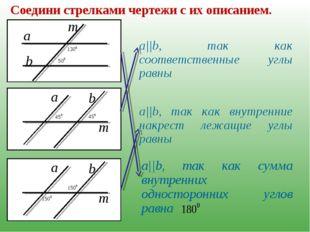 Соедини стрелками чертежи с их описанием. a||b, так как соответственные углы