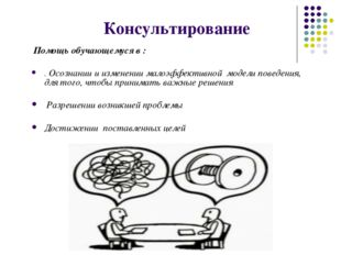 Консультирование Помощь обучающемуся в : . Осознании и изменении малоэффекти