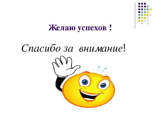 Желаю успехов ! Спасибо за внимание!