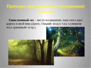 Примеры архетипических (инициация) смыслов Таинственный лес – место посвящени
