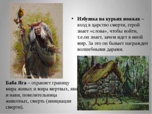 Избушка на курьих ножках – вход в царство смерти, герой знает «слова», чтобы